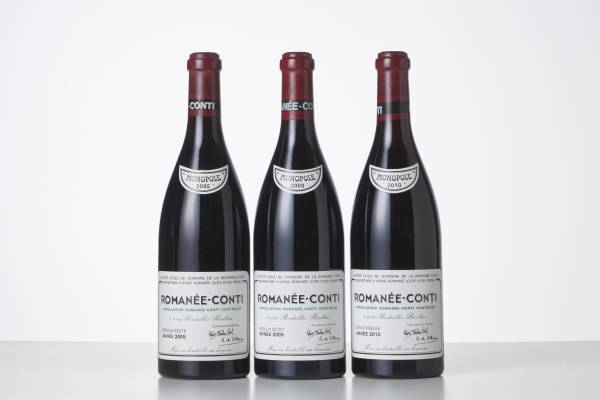 3 bottles of Romanée-Conti 2005, 2009 and 2010