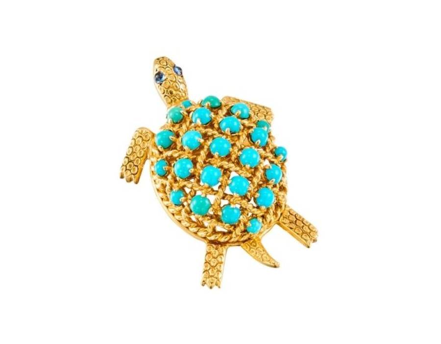 CARTIER Clip tortue turquoises